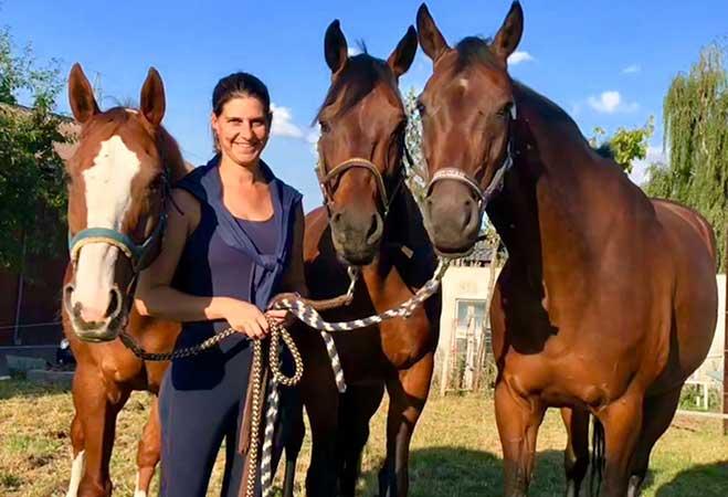 Melanie mit Indore, Cuba und Charmeur.